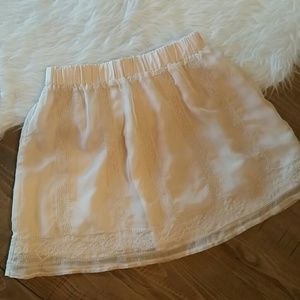 UO Staring at Stars Cream Embroidered Mini Skirt S